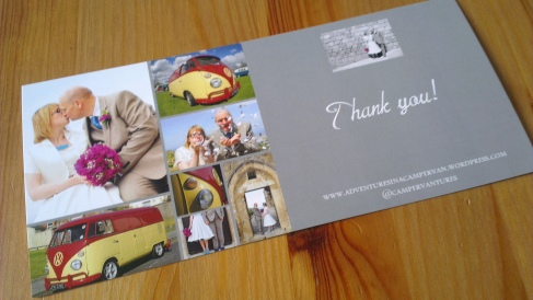Photograph of a wedding invitation with wedding photographs and pictures of a red and yellow splitscreen campervan