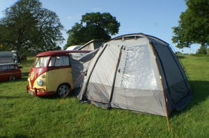 Ruby the VW Splitscreen camper van with new curtains from VW Camper Curtains and Easycamp Daytona Awning