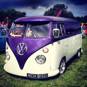 purple and white split screen vw panel van 1966