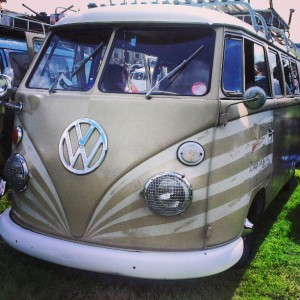 r u low enough striped painted vw splitscreen bus
