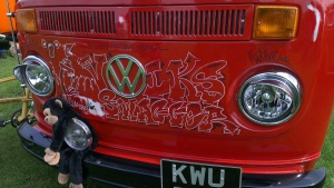 bay window vw camper red volkswagger cartoonies field of dreams
