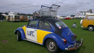 blue yellow white black beetle shopping trolley leeds united field of dreams