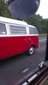 red white bay window camper motorway