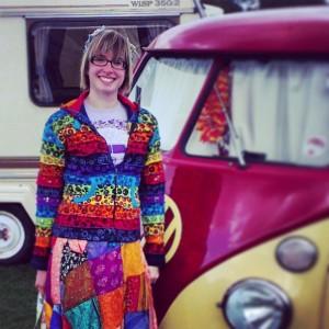 hippy red yellow split screen vw panel camper van