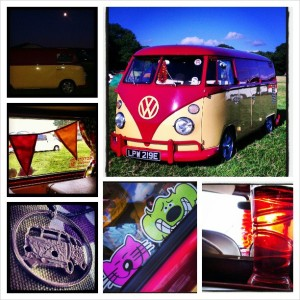 photo grid image of Ruby the rhubarb and custard splitscreen camper at VW Festival 2013