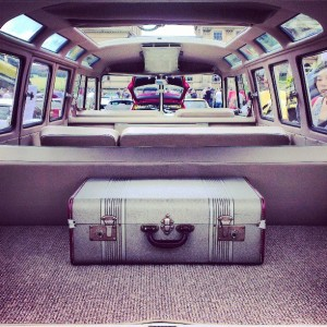23 window samba vw interior vintage suitcase