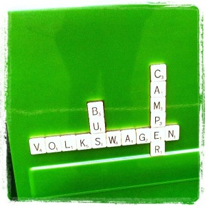 VW bus camper green t25 scrabble tiles