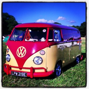 VW split screen camper panel van rhubarb and custard red and yellow Ruby