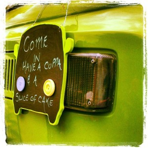 The Two Tarts green camper van come in and have a cuppa VW sign