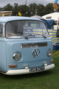 vw bay window blue panel van field of dreams