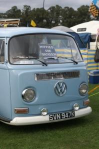 vw bay window blue panel van field of dreams