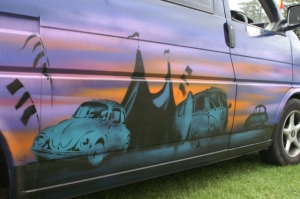 spraypaint graffiti vw camper beetle camping field of dreams