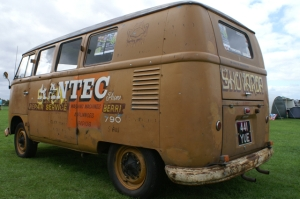 brown ratty signwritten vw camper van field of dreams