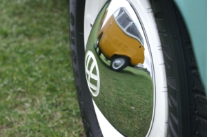 vw camper bay van wheel reflection field of dreams