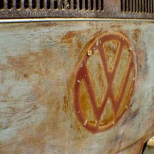 vw badge bay window ratty patina rust