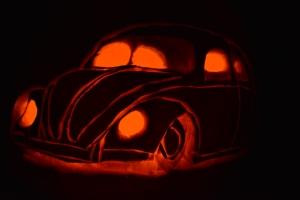pumpkin vw beetle slammed halloween