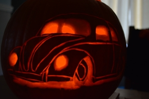 pumpkin vw beetle slammed halloween