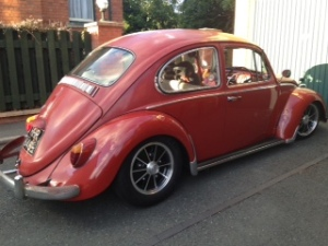 ruby red patina beetle vw slammed stance